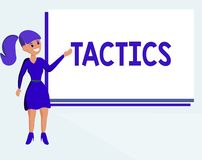 Text sign showing Tactics. Conceptual photo Action Team Strategy carefully planned to achieve specific end royalty free illustration