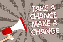 Text sign showing Take A Chance Make A Change. Conceptual photo dont lose opportunity to reach bigger things Man holding megaphone. Loudspeaker grunge gray rays stock illustration