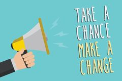 Text sign showing Take A Chance Make A Change. Conceptual photo dont lose opportunity to reach bigger things Man holding megaphone. Loudspeaker blue background royalty free illustration