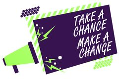 Text sign showing Take A Chance Make A Change. Conceptual photo dont lose opportunity to reach bigger things Megaphone loudspeaker. Green striped frame royalty free illustration