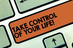 Text sign showing Take Control Of Your Life. Conceptual photo Be the analysisager of your destiny motivation Keyboard. Key Intention to create computer message royalty free stock photos