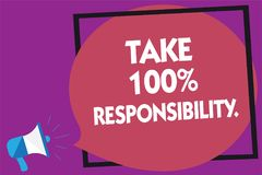Text sign showing Take 100 Responsibility.. Conceptual photo be responsible for list of things objects to do Megaphone loudspeaker. Loud screaming purple Royalty Free Stock Photography