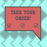 Text sign showing Take Your Order. Conceptual photo Service in a restaurant caf or any other food place Blank. Rectangular Color Speech Bubble with Border photo vector illustration