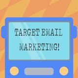 Text sign showing Target Email Marketing. Conceptual photo advertisement is sent to a target list of recipients Drawn Flat Front. View of Bus with Blank Color royalty free illustration