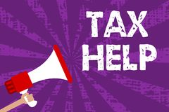 Text sign showing Tax Help. Conceptual photo Assistance from the compulsory contribution to the state revenue Grunge Megaphone lou. Dspeaker loud screaming stock illustration
