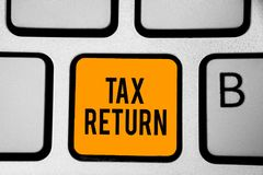 Text sign showing Tax Return. Conceptual photo which taxpayer makes annual statement of income circumstances Keyboard orange key I. Ntention create computer stock photography