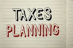 Text sign showing Taxes Planning. Conceptual photo Financial Planification Taxation Business Payments Prepared written on Notebook. Text sign showing Taxes Royalty Free Stock Photos