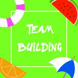 Text sign showing Team Building. Conceptual photo Types of activities used to enhance social relations.  vector illustration