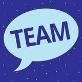 Text sign showing Team. Conceptual photo Group of people working together Classed and share certain beliefs.  royalty free illustration