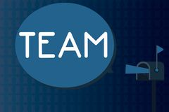 Text sign showing Team. Conceptual photo Group of people working together Classed and share certain beliefs.  stock illustration