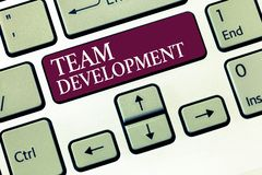 Text sign showing Team Development. Conceptual photo learn why and how small groups change over time with graphs.  stock photo