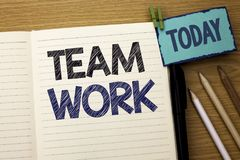 Text sign showing Team Work. Conceptual photo Cooperation Together Group Work Achievement Unity Collaboration written on Notebook. Text sign showing Team Work royalty free stock images