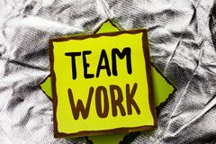 Text sign showing Team Work. Conceptual photo Cooperation Together Group Work Achievement Unity Collaboration written on Stacked S. Text sign showing Team Work stock images
