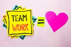 Text sign showing Team Work. Conceptual photo Cooperation Together Group Work Achievement Unity Collaboration written on Stacked S. Text sign showing Team Work royalty free stock photography