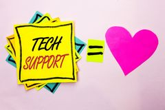 Text sign showing Tech Support. Conceptual photo Help given by technician Online or Call Center Customer Service written on Yellow. Text sign showing Tech Royalty Free Stock Photos