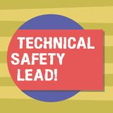 Text sign showing Technical Safety Lead. Conceptual photo Maintain technical integrity and workplace safety Blank. Rectangular Color Shape with Shadow Coming royalty free illustration