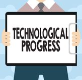 Text sign showing Technological Progress. Conceptual photo overall Process of Invention Innovation Diffusion.  royalty free illustration
