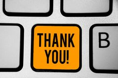 Text sign showing Thank You. Conceptual photo replaying on something good or greetings with pleased way Keyboard orange key Intent. Ion create computer computing royalty free stock photography
