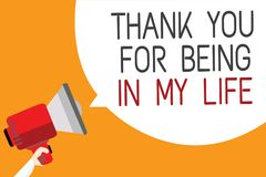 Free Text Sign Showing Thank You For Being In My Life. Conceptual Photo Loving Someone For Being By Your Side Man Holding Megaphone Lou Royalty Free Stock Photo - 121366245