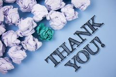 Text sign showing Thank You Motivational Call. Conceptual photo Appreciation greeting Acknowledgment Gratitude written on the Plai. Text sign showing Thank You Royalty Free Stock Photos