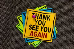 Text sign showing Thank You See You Again. Conceptual photo Appreciation Gratitude Thanks I will be back soon Black bordered diffe. Rent color sticky note stick stock photo