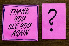 Text sign showing Thank You See You Again. Conceptual photo Appreciation Gratitude Thanks I will be back soon Violet color black l. Ined sticky note with letters royalty free stock image
