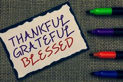Text sign showing Thankful Grateful Blessed. Conceptual photo Appreciation gratitude good mood attitude Blue bordered page drawn s. Ome texts laid color pen jute royalty free stock photography
