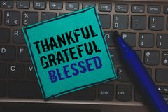 Text sign showing Thankful Grateful Blessed. Conceptual photo Appreciation gratitude good mood attitude Huge button with computer. Keyboard black lined written stock photo