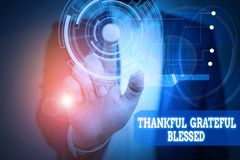 Text sign showing Thankful Grateful Blessed. Conceptual photo Appreciation gratitude good mood attitude Male human wear