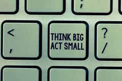 Text sign showing Think Big Act Small. Conceptual photo Great Ambitious Goals Take Little Steps one at a time.  royalty free stock photography