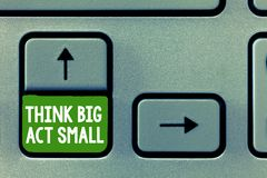 Text sign showing Think Big Act Small. Conceptual photo Great Ambitious Goals Take Little Steps one at a time.  stock photography