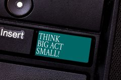 Text sign showing Think Big Act Small. Conceptual photo Make little steps to slowly reach your biggest goals Keyboard. Key Intention to create computer message royalty free stock photo