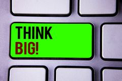 Text sign showing Think Big Motivational Call. Conceptual photos Have great ideas Dream of something amazing. Text sign showing Think Big Motivational Call Royalty Free Stock Photography