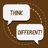 Text sign showing Think Different. Conceptual photo Rethink Change on vision Acquire New Ideas Innovate. Text sign showing Think Different. Conceptual photo vector illustration
