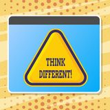 Text sign showing Think Different. Conceptual photo Rethink Change on vision Acquire New Ideas Innovate. Text sign showing Think Different. Conceptual photo stock illustration