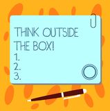 Text sign showing Think Outside The Box. Conceptual photo Be unique different ideas bring brainstorming Blank Square. Color Board with Magnet Click Ballpoint vector illustration