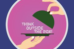 Text sign showing Think Outside The Box. Conceptual photo Be unique different ideas bring brainstorming Hu analysis. Hands Serving Tray Platter and Lifting the stock illustration