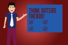 Text sign showing Think Outside The Box. Conceptual photo Be unique different ideas bring brainstorming Man with Tie. Standing Talking Presenting Blank Color stock illustration