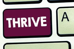 Text sign showing Thrive. Conceptual photo Think positively Continue to prosper and flourish Time to Blossom.  royalty free stock photo