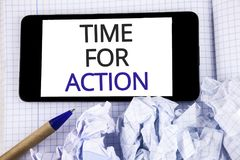 Text sign showing Time For Action. Conceptual photo Do something now for a particular purpose Act in this moment written on Mobile. Text sign showing Time For Royalty Free Stock Photos