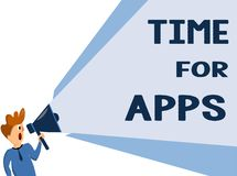 Text sign showing Time For Apps. Conceptual photo The best fullfeatured service that helps communicate faster vector illustration