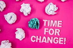 Text sign showing Time For Change Motivational Call. Conceptual photo Transition Grow Improve Transform Develop Text Words pink ba stock images