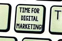Text sign showing Time For Digital Marketing. Conceptual photo Social media advertising promotion strategies Keyboard. Key Intention to create computer message royalty free stock photo