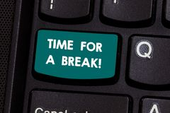 Free Text Sign Showing Time For A Break. Conceptual Photo Making A Pause From Work Or Any Other Activity Relax Keyboard Key Royalty Free Stock Photos - 135926488