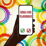 Text sign showing Time For Planning. Conceptual photo exercising conscious control spent on specific activities. Text sign showing Time For Planning. Business royalty free illustration