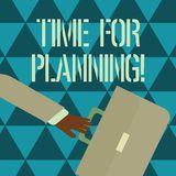 Text sign showing Time For Planning. Conceptual photo exercising conscious control spent on specific activities Rushing. Text sign showing Time For Planning royalty free illustration