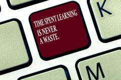Text sign showing Time Spent Learning Is Never A Waste.. Conceptual photo Education has no end Keep the wisdom stock photos