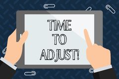 Text sign showing Time To Adjust. Conceptual photo Right moment for making adjustments to keep going forward. Text sign showing Time To Adjust. Conceptual photo vector illustration