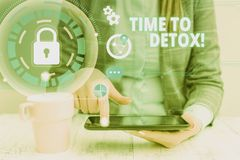 Text sign showing Time To Detox. Conceptual photo when you purify your body of toxins or stop consuming drug woman icons
