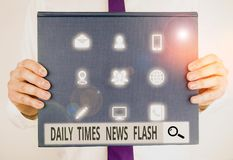 Text sign showing Daily Times News Flash. Conceptual photo fast response to actions happened in article way Male human
